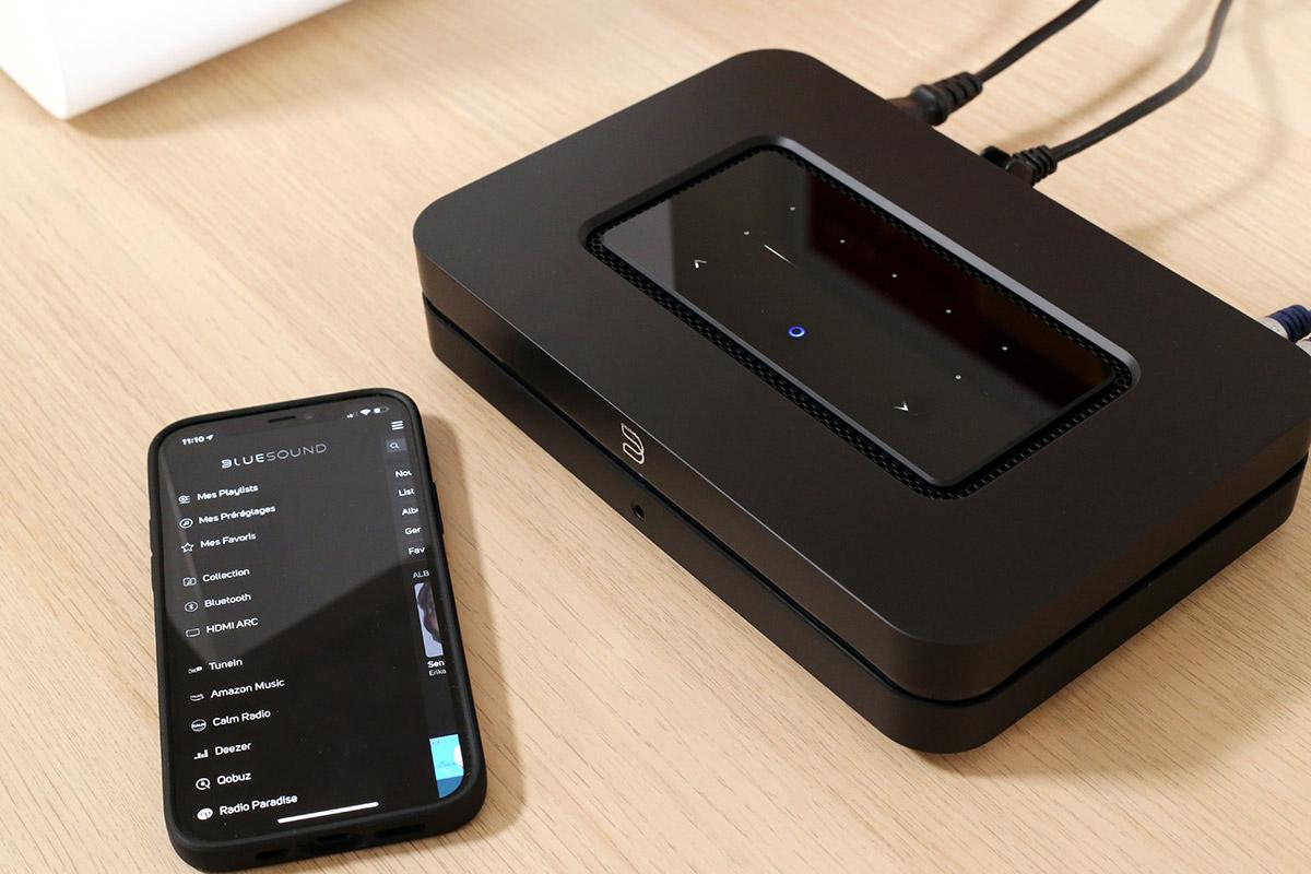 L'application BluOS permet de contrôler le NODE