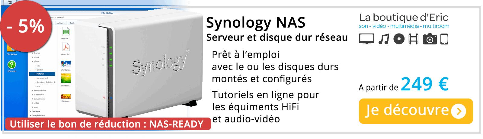 Acheter NAS Synology prêt à l'emploi : disques durs montés et configurés pour stockage fichiers audio et informatique