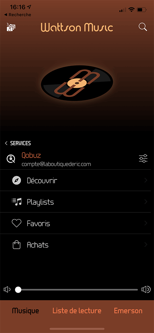 Tout le catalogue de Qobuz accessibles par recherche, découverte, playlists ou encore favoris.