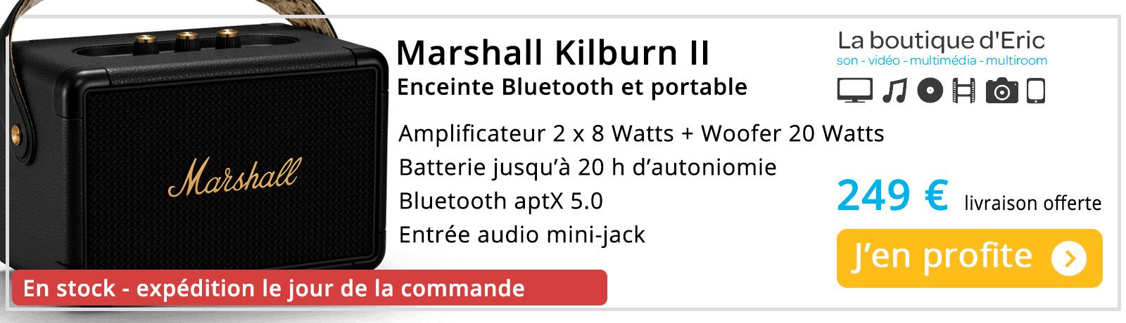 Marshall Kilburn 2 enceinte Bluetooth portable et puissante. Batterie 20 h d'autonomie - promotion