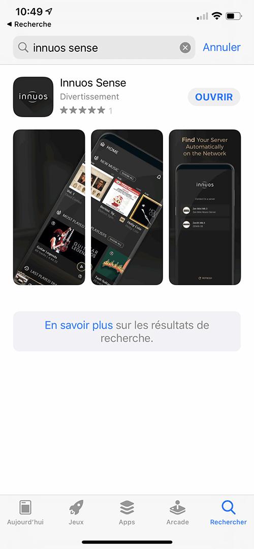 L'application gratuite InnuOS Sense est disponible sous Android et iOS.