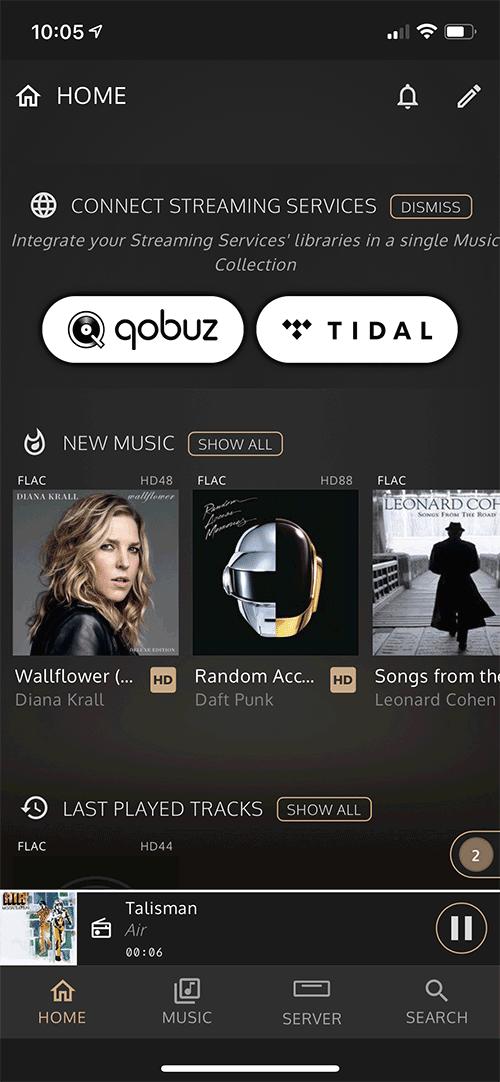 Les plateformes musicales Qobuz et Tidal sont intégrés directement à l'application InnuOS Sense.