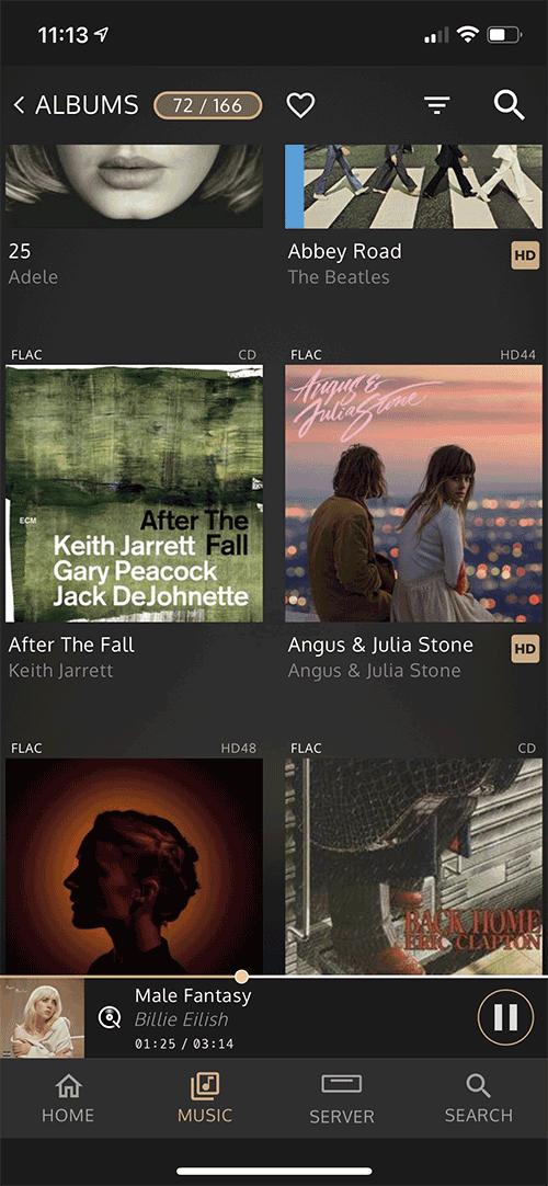 Les albums stockés dans le serveur Innuos s'affichent par pochette dans l'application.