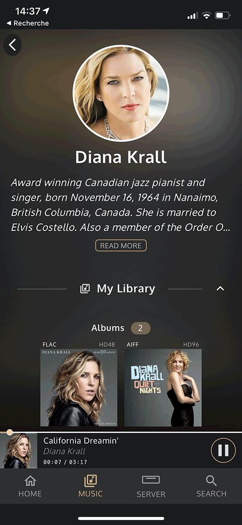 La bibliothèque musicale de l'artiste s'affiche pour l'accès immédiat aux albums