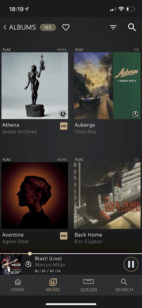 La bibliothèque musicale présente les fichiers locaux et le service de streaming Qobuz ou Tidal.