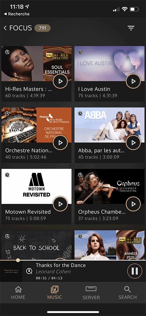 La présentation des playlists ou des thématiques proposées par Qobuz.